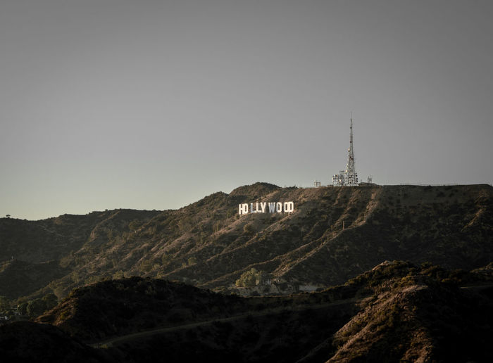 Hollywood Sign Hollywood Sign Mountain Astronomy Silhouette Sky Animal Themes Landscape