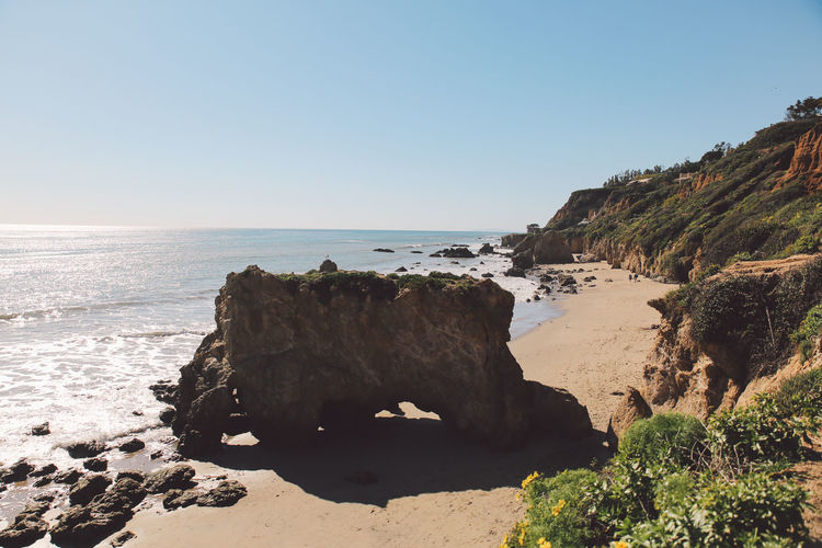California El Matador Beach Pacific Beach Beauty In Nature Clear Sky Cliff Day Horizon Over Water Nature No People Ocean Outdoors Rock - Object Rock Formation Sand Scenics Sea Sky Sunlight Tranquil Scene Tranquility Water California Dreamin