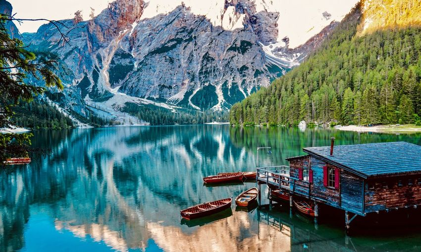 Lago di Braies Day Beauty In Nature Transportation Plant Tranquility No People Scenics - Nature Outdoors Mode Of Transportation Waterfront Travel Travel Destinations Turquoise Colored