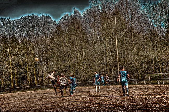 Bare Tree Cold Temperature Day Football Full Length Fussball Hdrphotography Leisure Activity Men Nature Nature Outdoors People Sportplatz Tree Winter