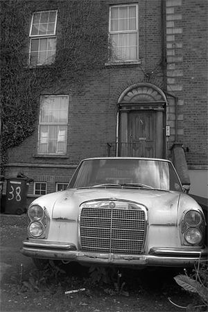 Abandonned Car House Blackandwhite