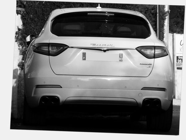 Maserati S edition model TM Rear Of Car Four Exhausts MASERATI Levante S Vehicle Exterior White Maserati White Car White Theme White Frame Edited Photography In France