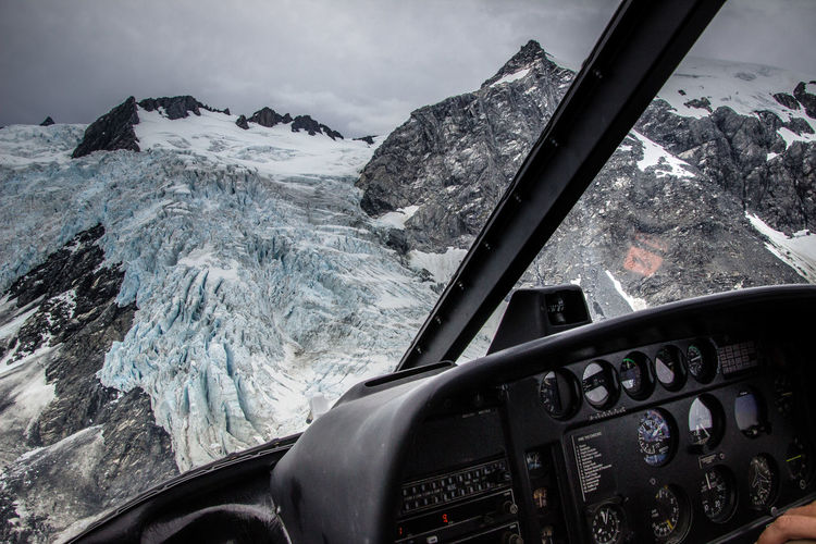 Mountain Seen Through Helicopter During Winter