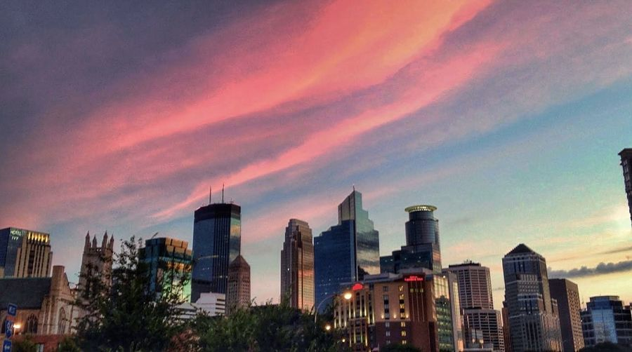 Sunrise DowntownMPLS Cityscapes Arts Avenue Clouds And Sky Sky And Clouds Cityscape City Skyline Pink Clouds