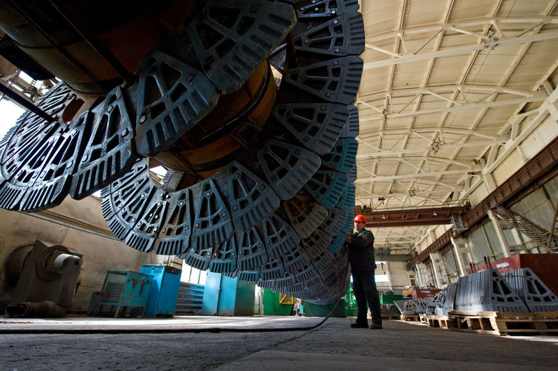 Russia, Stary Oskol, Stoilensky Mining and processing plant, repair of equipment for beneficiation plant Architectural Column Architecture Built Structure City Life Day Diminishing Perspective Empty Illuminated Lifestyles Metallurgy Mining Industry NLMK The Way Forward Travel Destinations