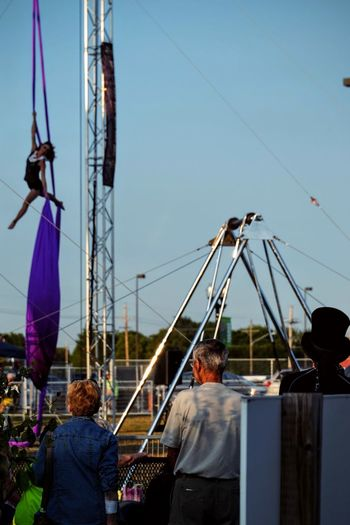 Nebraska State Fair August 2016 Grand Island, Nebraska -- Flippin' - A Steam Punk Theme Aerial & Acrobatic Spectactular Acrobatic Acrobatics  Action Shot  Balancing Act Camera Work Daredevil EyeEm Gallery Fairground Ride Nebraska Performance Performing Arts Photography Photojournalism Show State Fair Steam Punk Stunts Trapeze Trapeze Artist