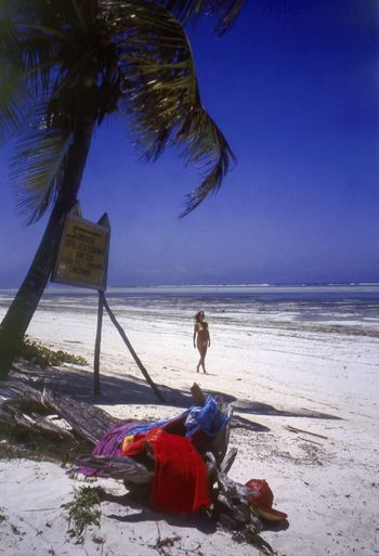 The beach at Bwejuu, Zanzibar Adult Beach Bwejuu Day Full Length Getaway  Horizon Over Water Idyllic Landscape One Person Outdoors Palm Tree Relaxation Sand Sea Seaside Travel Destinations Travel Photography Tropical Paradise Vacations Water Zanzibar Zanzibar_Tanzania Zanzibarisland