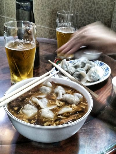 Dumpling goodness. Dumplings Chinese Food Drink Alcohol Drinking Glass Ice Cube Table Beer Glass Beer - Alcohol Close-up Food And Drink
