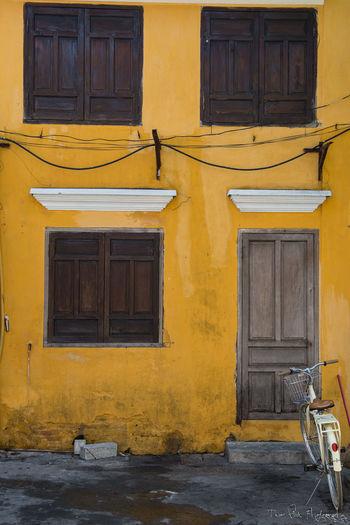 Travel Vietnam Architecture Building Built Structure Front Door Residential District Street Yellow