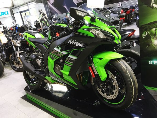 """""""Kawasaki Ninja ZX-10R 2017"""" Kawasaki Kawasaki Ninja Kawasaki Zx10r Motorcycle Racing Power Green Color Black Color Sport Transportation Mode Of Transport Indoors  No People Stationary To Sale Beautiful"""