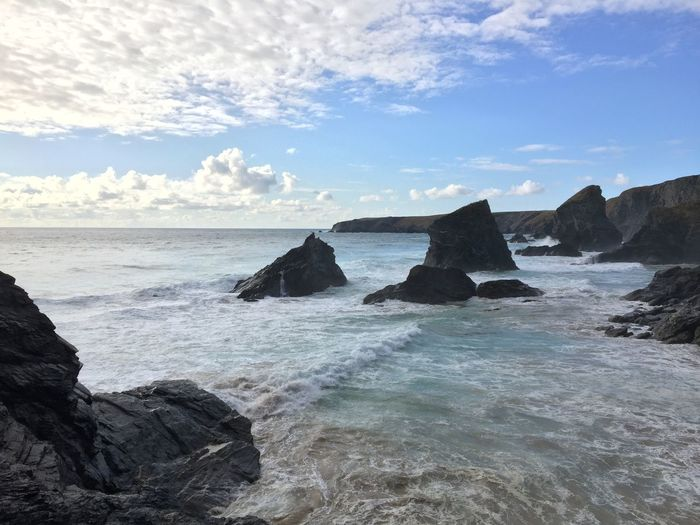 Beach Beauty In Nature Breaking Cloud - Sky Eroded Horizon Horizon Over Water Land Motion Nature No People Outdoors Rock Rock - Object Rock Formation Scenics - Nature Sea Sky Solid Stack Rock Tranquil Scene Tranquility Water