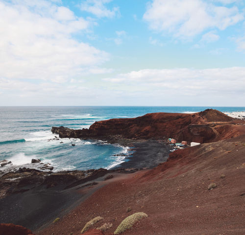 Canary Islands Lanzarote SPAIN Travel Volcanoes Coast Day Geological Formation Island Landscape Ocean Shore Volcanic  Volcano