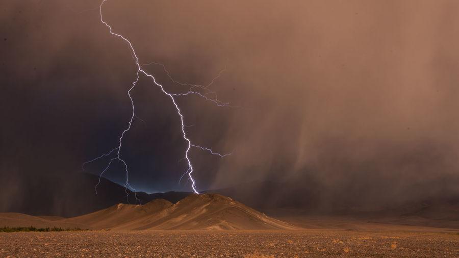 View of lightning on desert