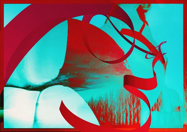What A View The Devil In Me Digital Art Rounded Red Colour Burst Self Portrait Multimedia Portraits Trees