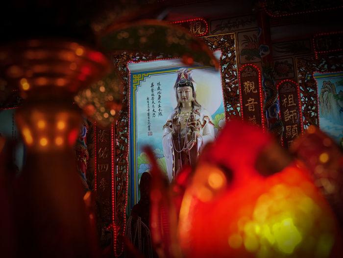 Illuminated sculpture in temple