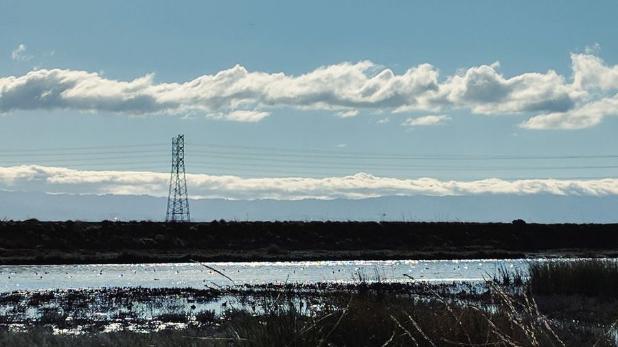 River Lake Water Daylight Cloud Shiny Fremont Beach Tranquil Scene Calm Tranquility Coast Electricity Tower Electricity Pylon