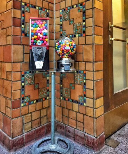 DECO GUMBALLS ~ Excelsior Springs, Missouri USA No People Day Multi Colored Outdoors Architecture Gumball Machines Artdeco Brick Wall Crossroads Landscape Relicsofthepast Edward Hopper Old-fashioned Cityscape Street Views Walker Evans KCACArtist Kansascityphotographer Roadside America Missouriphotography Urbanexploration Frozen In Time