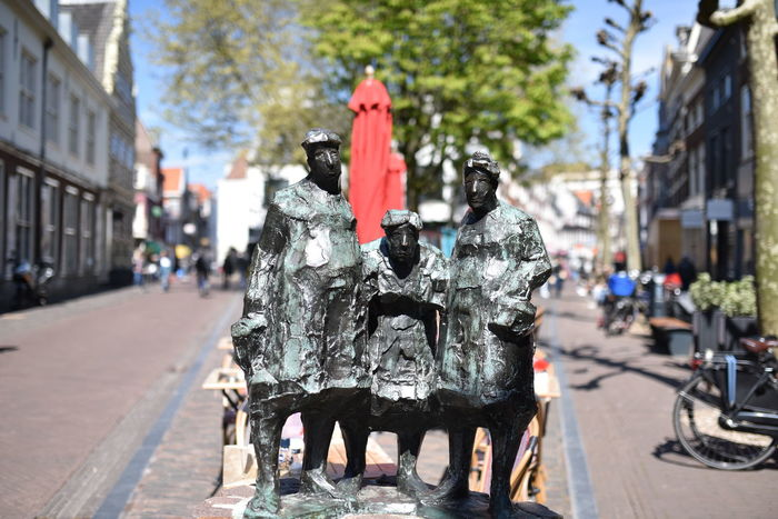 Architecture Building Exterior Built Structure City Day Group Photo Haarlem No People Old Ladies Outdoors Photo Posing Posing For The Camera Statue Street Tree The Street Photographer - 2017 EyeEm Awards