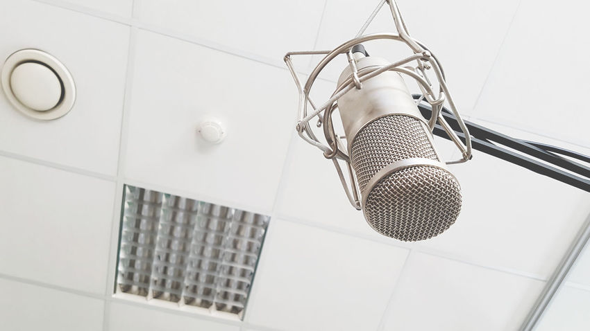 Celing EyeEm Best Shots Hanging Indoors  Low Angle View Mic Microphone No People Radio Shower Head Studio Studio Shot Technology White Wire