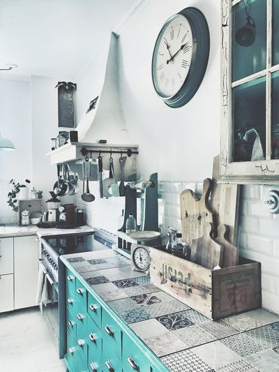 Kitchen Clock Indoors  Time Kitchenisinspiration Details Turquoise My Home Stove