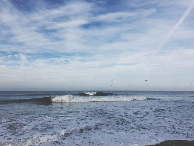 A-frame in Denmark. Surfing Seagulls Sky