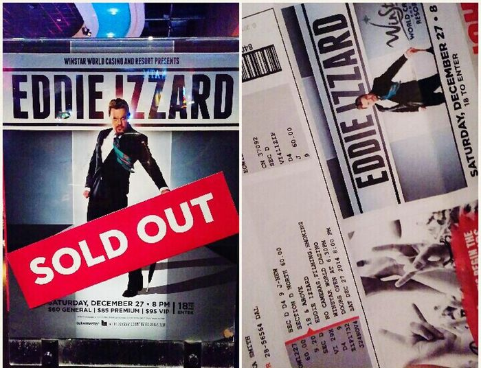 Hell yeah!! Seeing Izzard tonight!! Eddie Izzard Sold Out Show Stand Up Comedy Winstar Casino Hanging Out