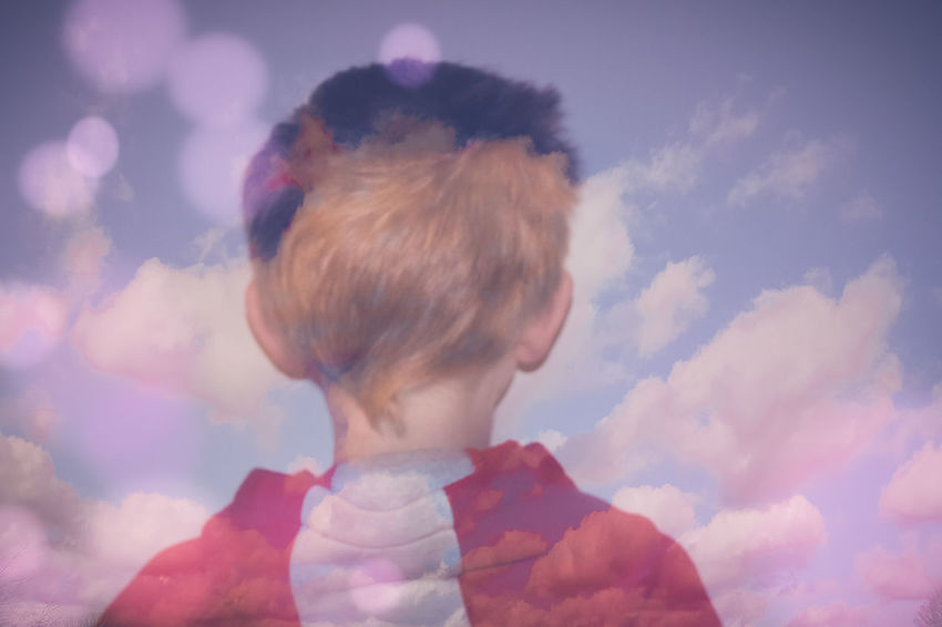 Hey kid, get your head out of the clouds... Blended Blended Images Bokeh Boy Carefree Child Childhood Daydreaming Dreaming Dreamy Dreamy Sky Fantasy Head And Shoulders Head In The Clouds Head In The Sky Innocence Lost In Space... Lost In Thought... Mystical Showcase: February Youth Of Today Pastel Power