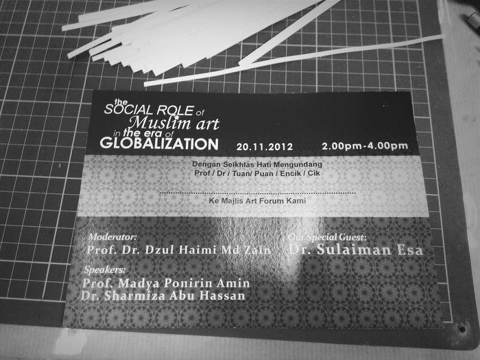 Art Forum Dr Sulaiman Esa, Prof. Dr. Dzul Haimi Md Zain, Prof. Madya Ponirin Amin, Dr. Sharmiza Abu Hassan, The Social Role of Muslim Art in The Era of Globalization