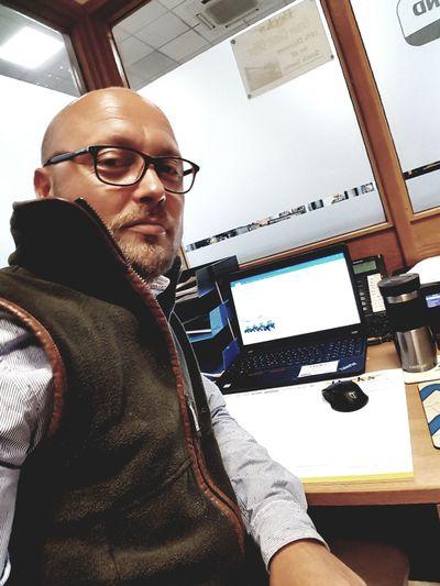 Selfie ✌ JustMe Baldy Working Office Technology Wireless Technology Working Portrait Businessman Eyeglasses  Using Laptop Business Men Graphic Designer