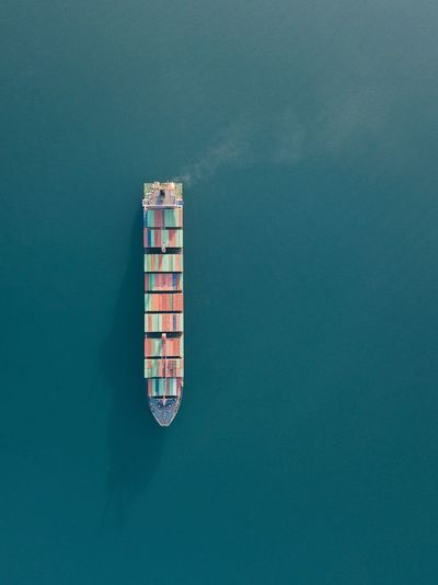 High angle view of cargo ship on sea