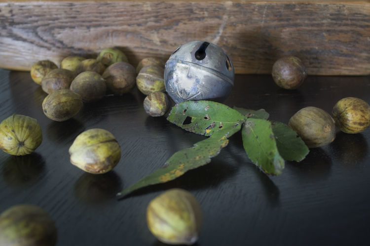 Bell Classic Interior Style Interior Views Nuts Plant Part Wood Food Fruit Green Color Hickory Hickory Nut Indoors  Interior Leaf Leaves Nature Nut Patina Plants And Flowers Postmodern  Reflection Selective Focus Still Life Table
