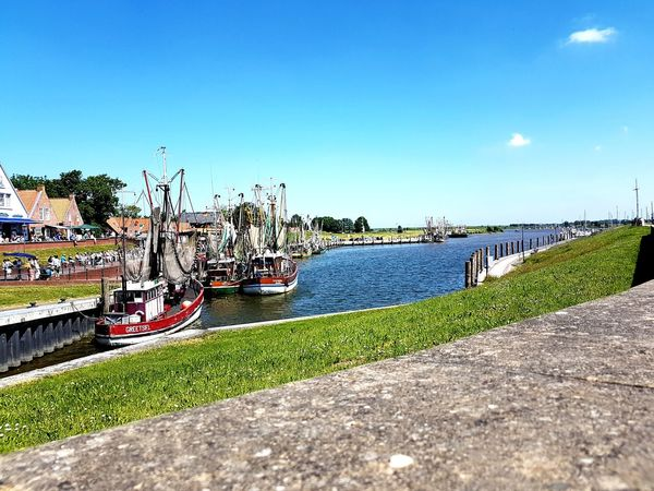 Hafen Greetsil Greetsiel, Germany Greetsiel Kutterhafen Kutter Nordsee Feeling🐚🌾 Fischer Fischerboot Water Clear Sky Bird Sea Blue Beach Sunlight Sky Grass