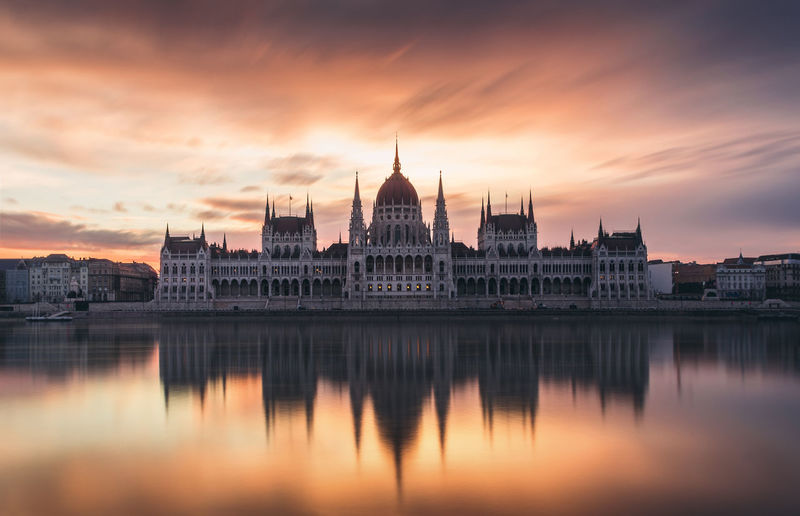 Hungarian parliament building reflecting on calm river against cloudy sky during sunset