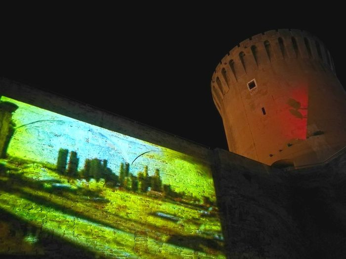 Historical Monuments Old Fortress Tower Light Art Video Projection Dancing A Night Out Dancing the old fortress