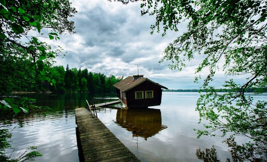 Water Tree Sky Reflection Nature Tranquility No People Outdoors Beauty In Nature Boathouse Day Watermill Canon Canonphotography Sauna Finland Summer Lake Lake View Canonmark3 Nature Forest