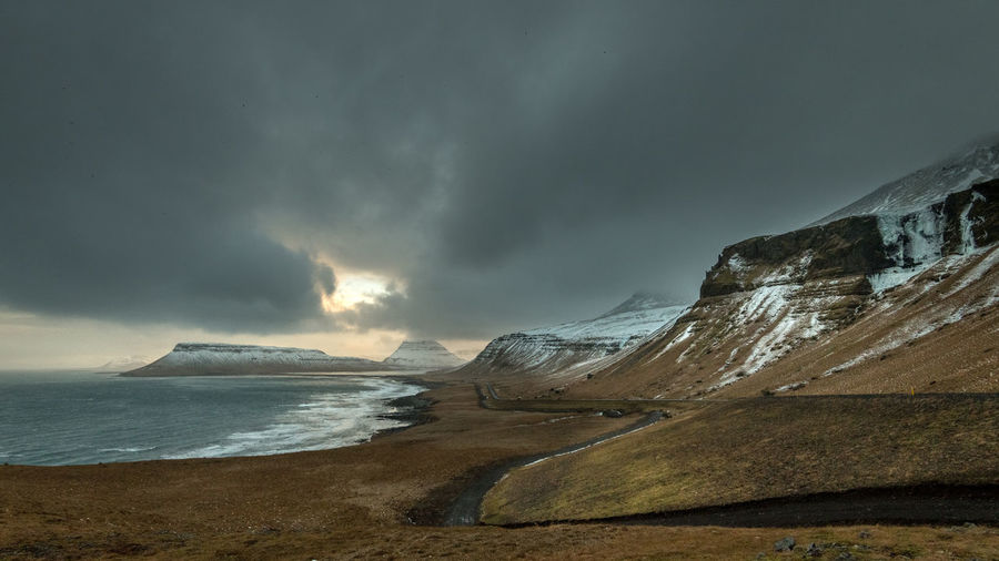 Sky Cloud - Sky Storm Water Scenics - Nature Beauty In Nature Sea Mountain Land Beach Nature Environment Storm Cloud Overcast No People Tranquil Scene Landscape Motion Outdoors Rain Ominous Power In Nature Iceland