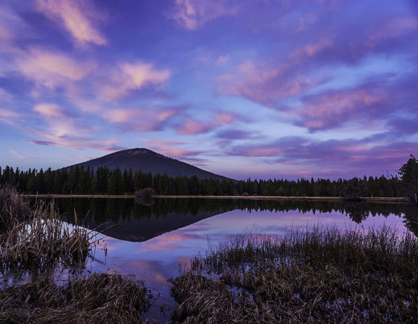 Susnet looking at Black Butte in Central Oregon. Beauty In Nature Black Butte Cloud - Sky Lake Mountain Nature No People Oregon Outdoors Purple Reflection Sky Sunset Tranquil Scene Water