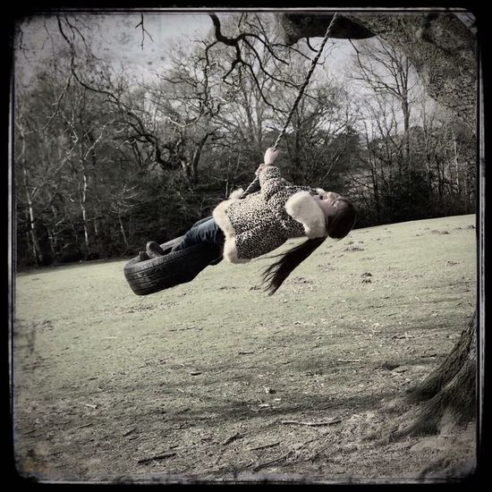 Autum ♥ Happy Time Swing Tyre Little Girl Outdoors