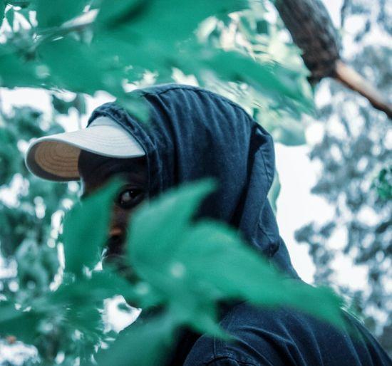 Portrait of man wearing tree