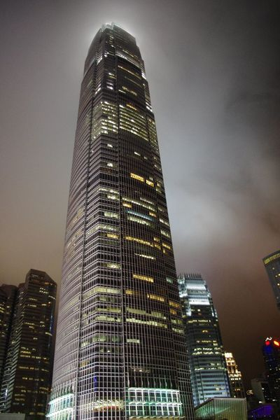 Architecture Skyscraper Tall - High Tower City Low Angle View Sky Night Illuminated Fog Built Structure The Photograph Which I Took In Old Days HongKong