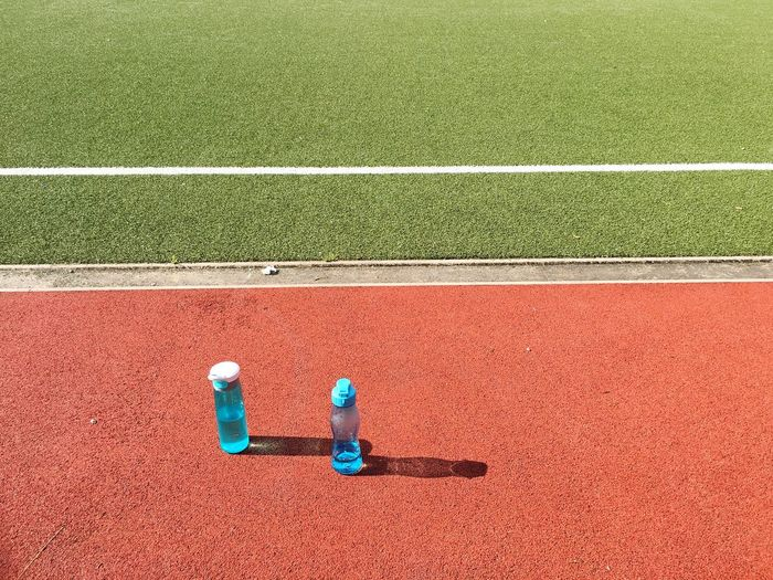 Water bottles on soccer field