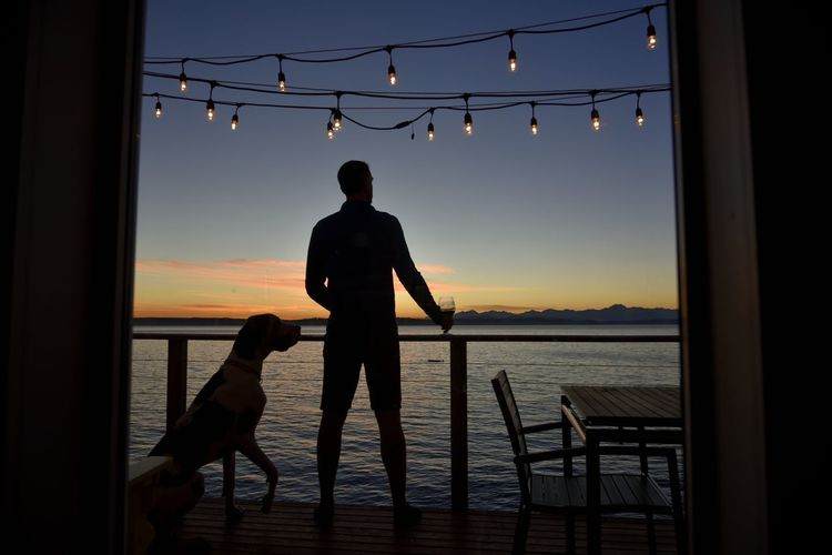 Man And Dog On Deck Looking At Lake At Dusk With Bulb Lights Overhead