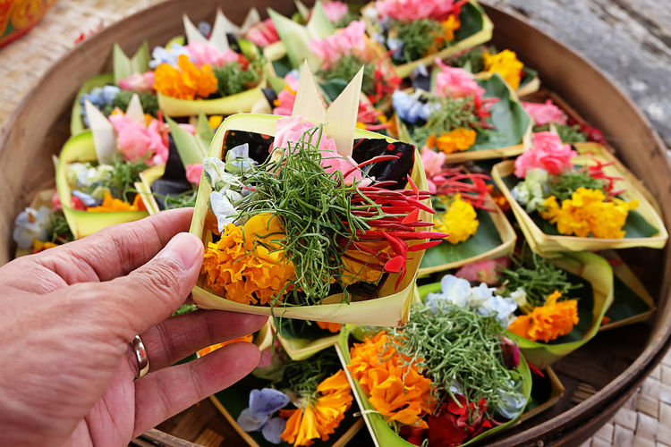 Canang from Bali Bali Culture Bali Indonesia Canang Bali Tradition Bali Flower Bali Traditional Flower Flower Arrangement Flowering Plant Freshness Human Hand