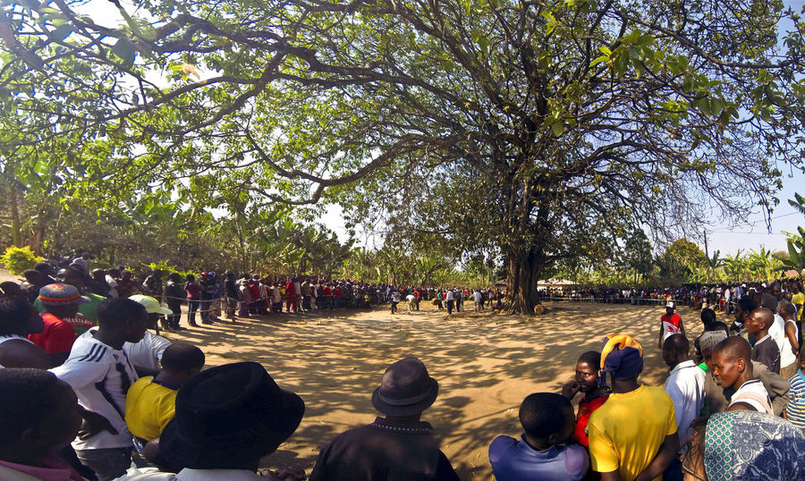 Adult Crowd Day Large Group Of People Leisure Activity Men Mixed Age Range Nature Outdoors People Real People Sitting Tanzania Togetherness Traditional Dance Tree Tree Village Festival Watching Women