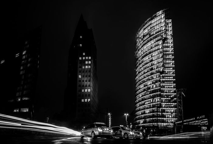 Architecture Backgrounds Bahnhof Berlin Black And White Building Building Exterior Built Structure Capital Cities  City City Life City Street Cityscape Dark Illuminated Long Exposure Modern Night Office Building Potsdamer Platz Potsdamerplatz S/w Skyscraper Staion Tall - High