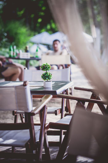 People Sitting At Outdoors Cafe