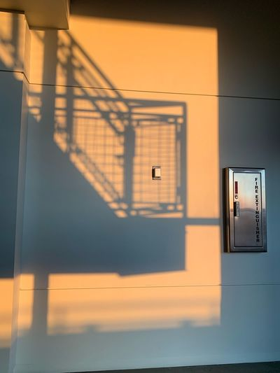 View of staircase at sunset