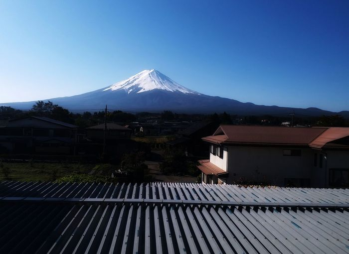 Fuji Mountain Sunrise Blue Sky Countrys Fujimountain Scenery Mountain Snow Cold Temperature Winter Roof Snowcapped Mountain Point Of View House Sky Building Exterior
