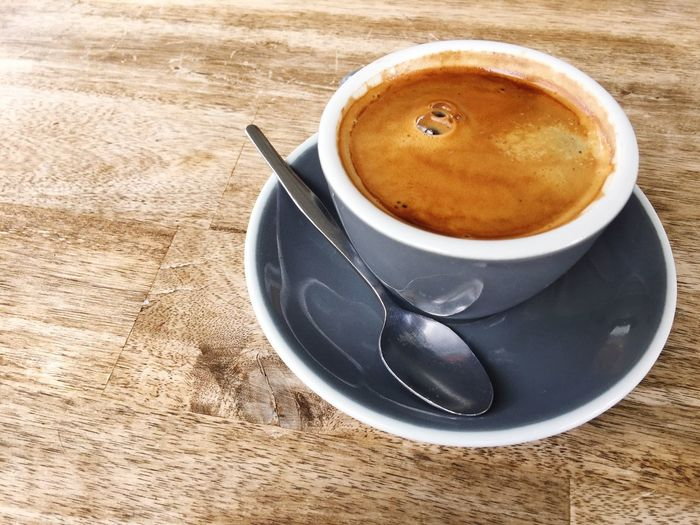 Long Black Coffee Black Coffee Long Black Espresso Wooden Table Wood Drink Coffee - Drink Coffee Food And Drink Refreshment Mug Cup Saucer Coffee Cup Crockery Eating Utensil Spoon Kitchen Utensil Table Still Life Hot Drink High Angle View Freshness Indoors