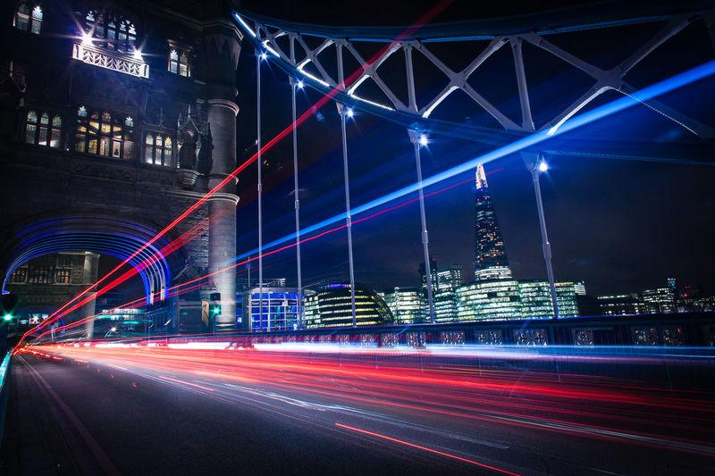 Light trails on tower bridge at night